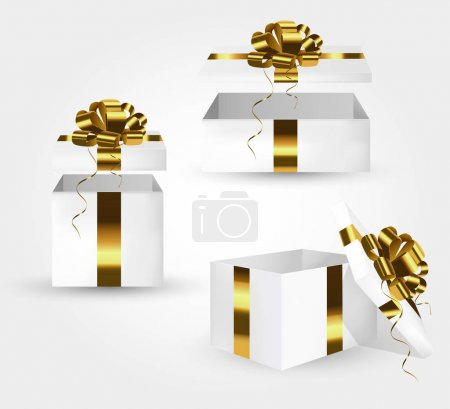 Illustration for Open gift boxes with gold satin bows. Merry christmas and happy new year greeting card. - Royalty Free Image