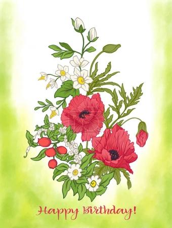 Composition with summer flowers: poppy, daffodil, anemone, viole
