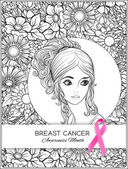 Breast cancer awareness month poster with pink ribbon and women portrait