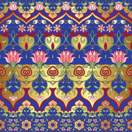 Illustration for Eastern ethnic motif, traditional muslim ornament. Seamless pattern, background. Vector illustration - Royalty Free Image