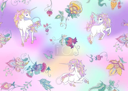 Illustration for Seamless pattern with stylized ornamental flowers in retro, vintage style with unicorns. Jacobin embroidery. Colored vector illustration In pink, blue, ultraviolet colors on mesh background - Royalty Free Image