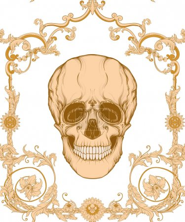 Illustration for Floral pattern with human skull. Seamless pattern in baroque style. Vector illustration. - Royalty Free Image