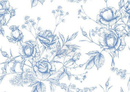 Illustration for Roses and spring flowers seamless pattern. Graphic drawing, engraving style. Vector illustration. - Royalty Free Image