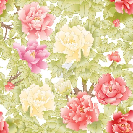 Illustration for Peony tree branch with flowers in the style of Chinese painting on silk Seamless pattern, background. Colored vector illustration. - Royalty Free Image