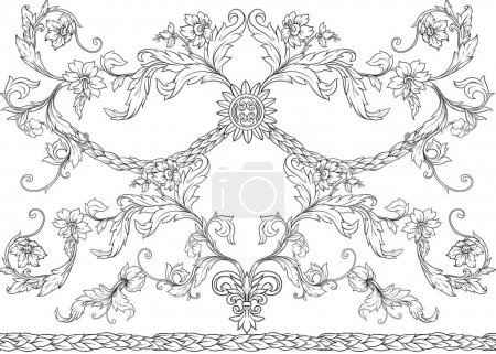 Illustration for Seamless pattern, background In baroque, rococo, victorian, renaissance style. Trendy floral vintage pattern. Colored vector illustration - Royalty Free Image