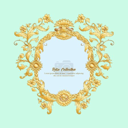 Illustration for Border, frame label In baroque rococo, victorian renaissance style. Trendy floral vintage pattern. Vector illustration - Royalty Free Image