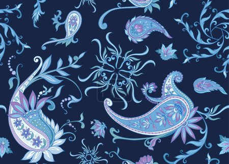 Illustration for Seamless pattern, background with traditional paisley. Floral vector illustration in damask style. Colored vector illustration.. - Royalty Free Image