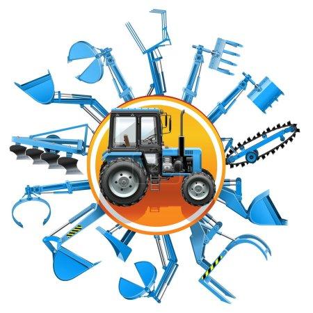 Illustration pour Vector Tractor Equipment Concept isolé sur fond blanc - image libre de droit