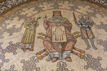 VENICE, ITALY - OCTOBER 12, 2016: mosaic floor of Santa Maria e San Donato Church in Murano, Venice. This church is known for its twelfth century Byzantine mosaic pavement