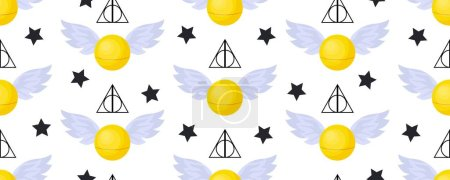 Golden snitch seamless pattern. deathly hallows. T...
