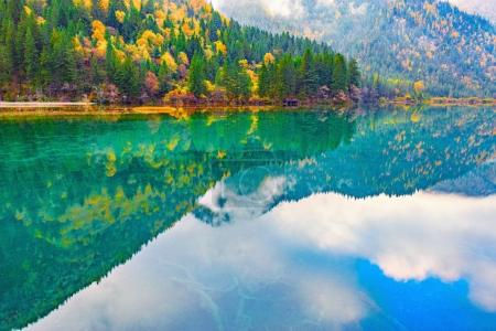 Autumn view of the lake with pure water.