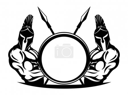 Спартанцев со щитами и копьями