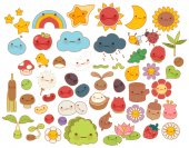 Collection of lovely baby forest nature doodle character icon cute star adorable flower sweet fruit kawaii rainbow girly bug comic apple in childlike manga cartoon style