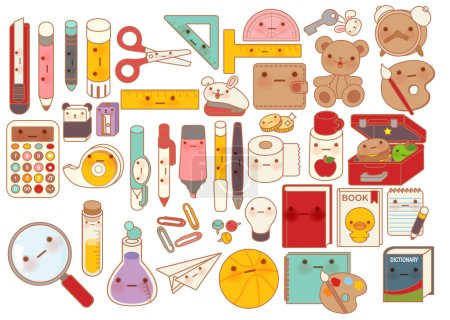 Collection of lovely baby stationery character doodle icon , cute pencil , adorable teddy bear doll , sweet lunchbox , kawaii book , girly pen in childlike manga cartoon style