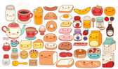 Collection of lovely baby breakfast set doodle icon  cute cereal  adorable bread  sweet strawberry jam  kawaii pancake  girly milk in childlike hand drawn manga cartoon style
