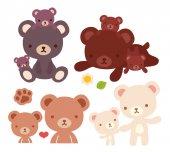 Collection of lovely bear family doodle icon cute papa bear  kawaii mama bear adorable baby bear hold hand and family hug in childlike manga cartoon style isolated on white