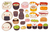 Collection of lovely baby japanese oriental food doodle icon cu