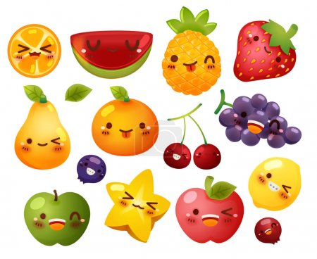 Illustration for Collection of lovely baby fruit doodle icon, cute strawberry, adorable melon, sweet orange, kawaii berry, girly apple in childlike manga cartoon for kid and baby isolated on white - Vector file EPS10 - Royalty Free Image