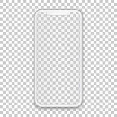 White mobile concept with empty screen for any application design and backdrop phone template isolated on transparent background High quality vector illustration in 3d style