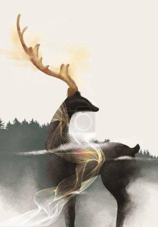 Photo pour 3d papier peint mural avec fond vert foncé. fleurs branches, cerfs papillon et nuages. Une antilope. oiseaux, montagne, arbre, soleil en arrière-plan. Convient pour une utilisation sur un cadre mural - image libre de droit