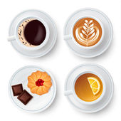 Four isolated white plates set three with lemon tea and coffee cups and one with sweets top view with shadows vector illustration