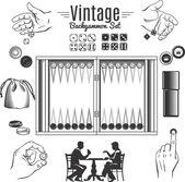 Backgammon Vintage Style Elements Set