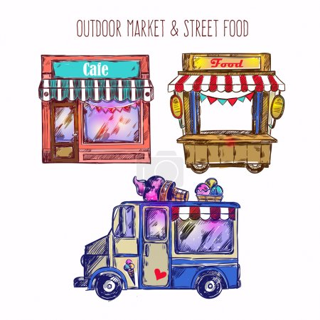 Illustration pour Esquisse de marché en plein air icône sertie de crème glacée van caf une illustration vectorielle de camion alimentaire - image libre de droit