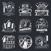 Fotografické Studio emblémy sada