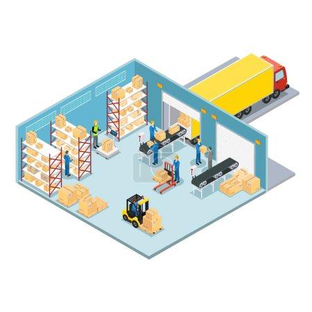 Illustration pour Composition isométrique de l'entrepôt avec processus de chargement et de déchargement des marchandises, puis envoyer l'illustration vectorielle du camion - image libre de droit