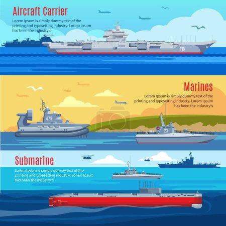 Illustration pour Flotte militaire bannières horizontales avec guerre navale marine et navires de combat illustration vectorielle - image libre de droit