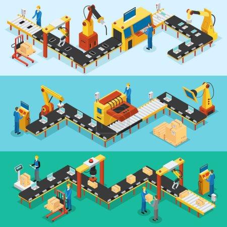 Illustration pour Bannières horizontales d'usine industrielle isométrique avec lignes automatisées d'assemblage de production et d'emballage illustration vectorielle des processus - image libre de droit