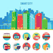 Smart City Flat Infographic Template