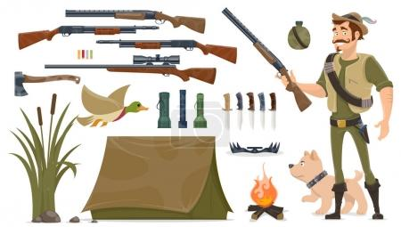 Illustration for Hunting elements set with hunter dog trap weapons knives axe duck tent bonfire reeds plant flashlights isolated vector illustration - Royalty Free Image