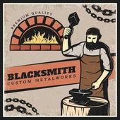 Vintage Colorful Blacksmith Poster