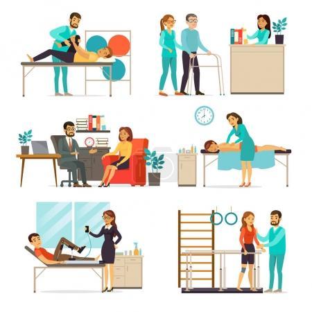 Illustration pour Ensemble de réadaptation et de thérapie avec des personnes faisant différents exercices psychologiques et physiques après des blessures illustration vectorielle isolée - image libre de droit