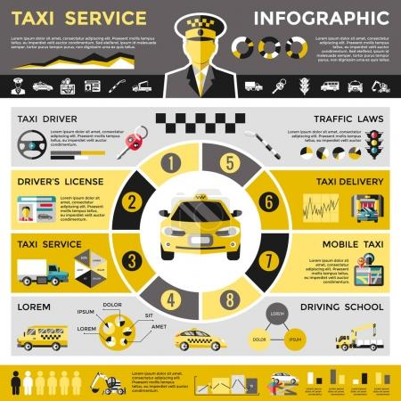 farbige Taxi-Service-Infografik Konzept