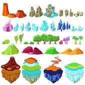 Colorful Game Islands Landscape Elements Set