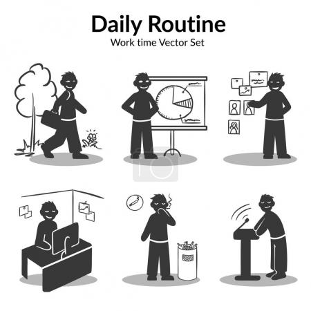 Hand Drawn Daily Routine Elements Set
