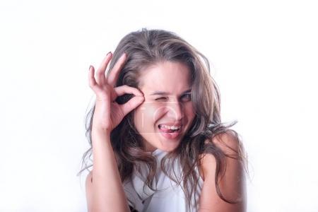 Photo pour Fille, émotion, joie, sourire - image libre de droit