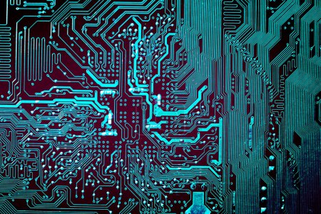 Photo for Circuit board. Electronic computer hardware technology. Motherboard digital chip. Tech science background. Integrated communication processor. Information engineering component. - Royalty Free Image