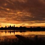 Mantua skyline at sunset - great orange color...