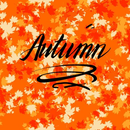 Autumn bright card with lettering