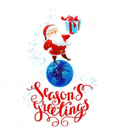 Santa with gift holiday card