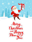 Holiday Christmas background for banners advertising leaflet cards invitation and so on Santa Claus snowman cartoon characters Handwritten Christmas Inscription