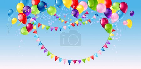 Illustration for Bright colorful abstract background with air baloons, vector illustration - Royalty Free Image