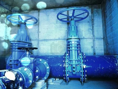 Film effect. The main City underground water shafts. 500mm large drink water pipeline with gate valve, 250mm armature  branch.