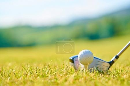 Golfing ball on a green grass.
