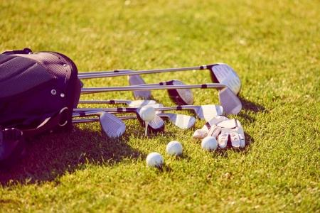 Golf equipment bag on a course