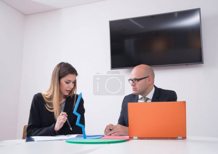 Photo for Corporate business team and manager in a meeting, close up - Royalty Free Image
