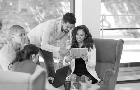 Photo for Photo young businessmans crew working with new startup project in modern coworking space. - Royalty Free Image